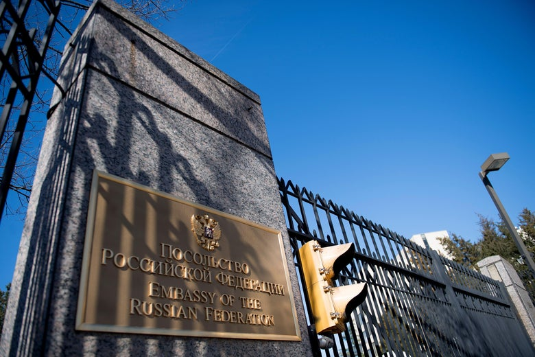 The sign for the Russian Embassy is viewed in Washington.