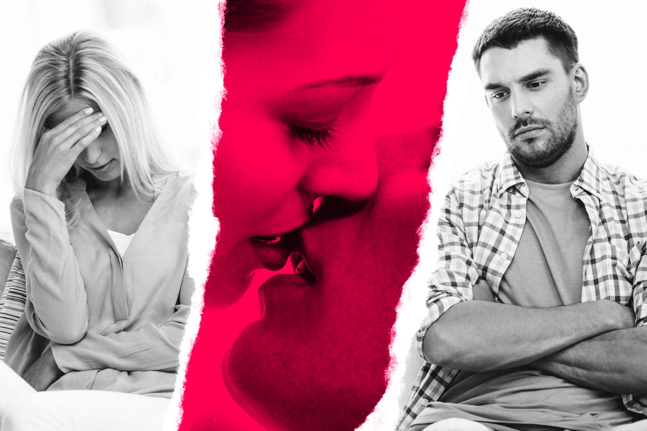 Photo illustration: In a paper-torn–like image, a woman holds her head with one hand on the left while a guy sits with crossed arms and visible frustration on the right. In the center is a close-up of a kissing couple.