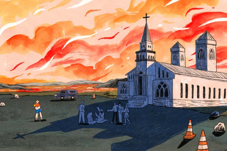 Illustration of a group of teens in front of a church watching the sun set in the background.