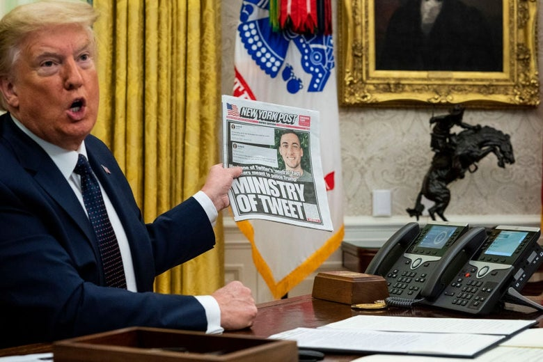 """Trump, seated at a desk, speaks angrily while holding a newspaper whose headline says """"Ministry of Tweet."""""""