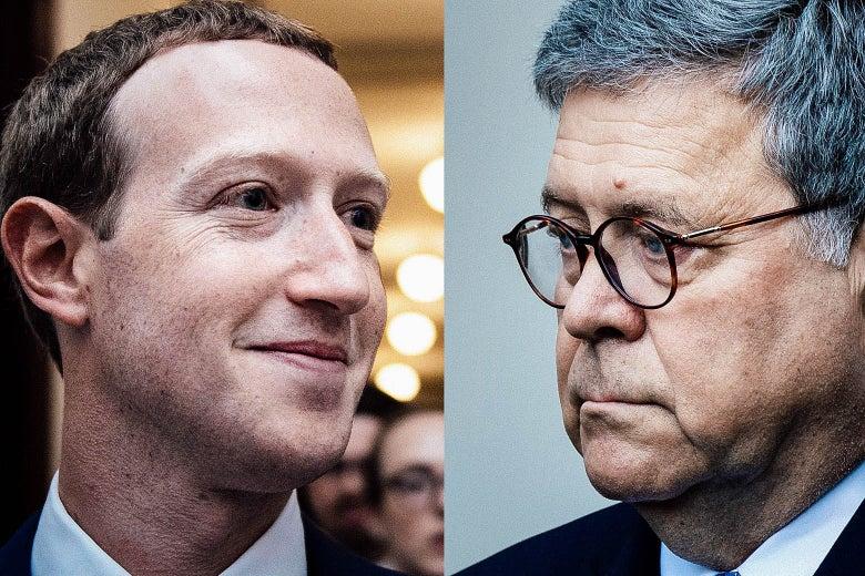 Mark Zuckerberg and William Barr.