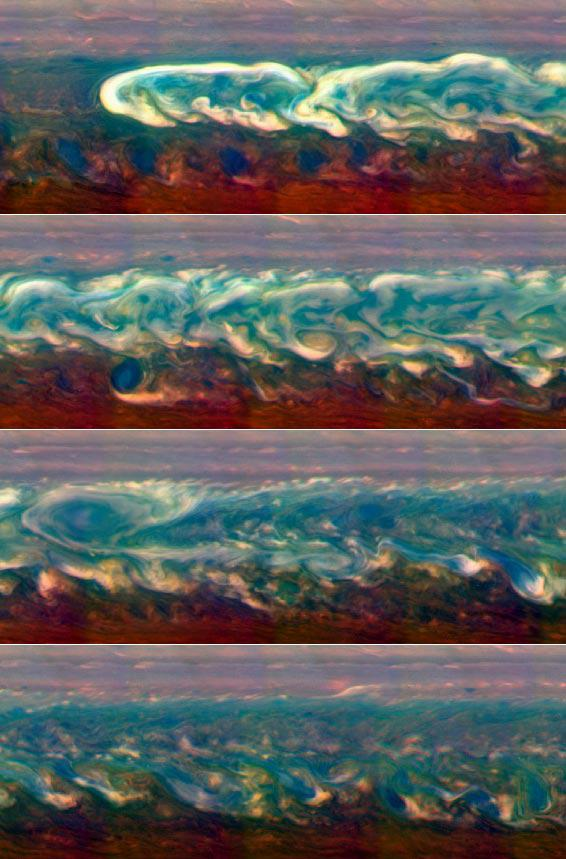 Saturn storm rages