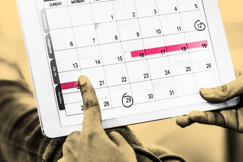 A person uses a tablet showing a calendar with their period marked off.