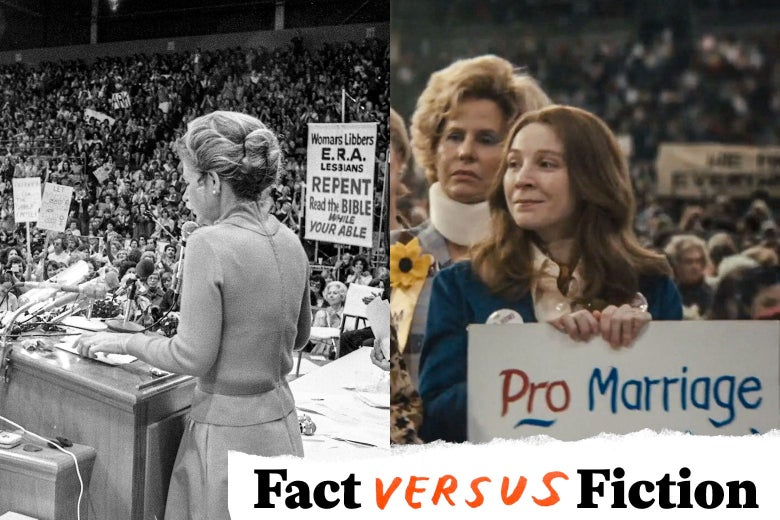 """The two crowds look remarkably similar, with signs raised including """"Pro Marriage."""" In the bottom right, a logo reads """"Fact vs. Fiction."""""""