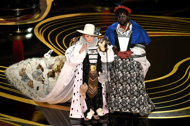 Melissa McCarthy and Brian Tyree Henry in their outlandish Oscar duds.