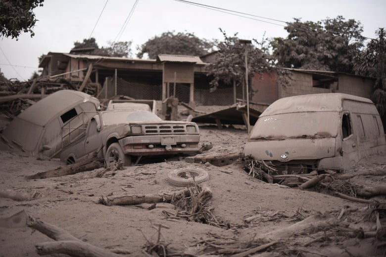 The aftermath of the eruption at the village of San Miguel Los Lotes