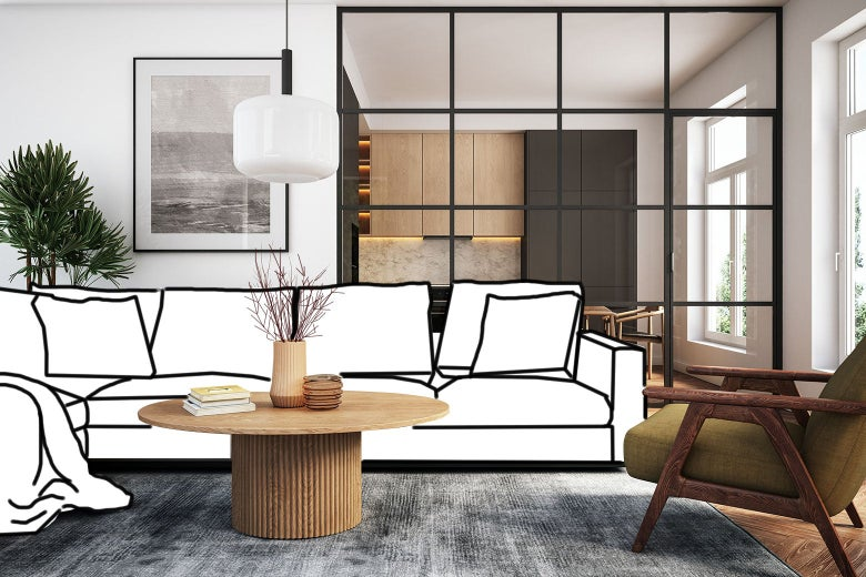 A nice living room with midcentury modern furniture, but the couch is drawn in because it is missing.