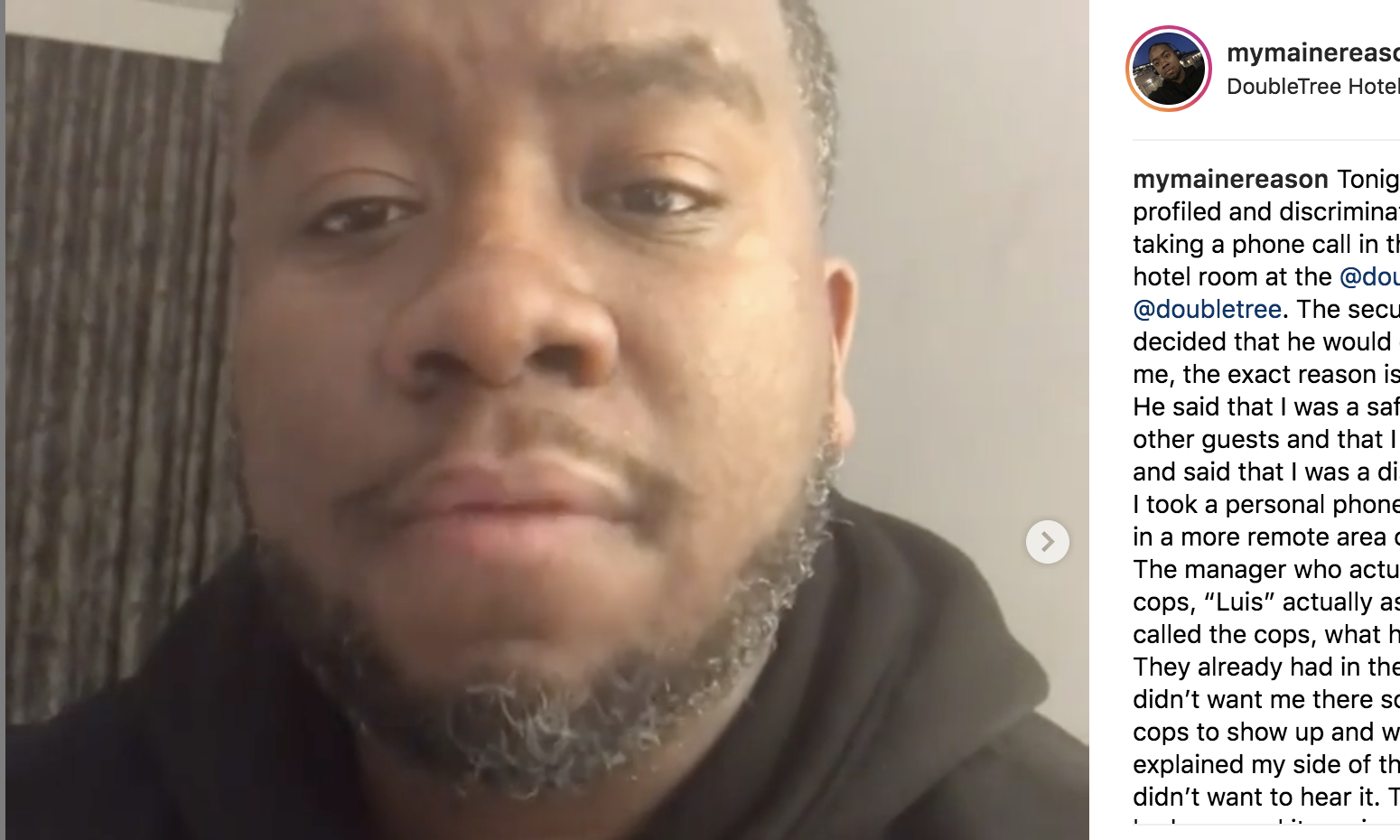 Jermaine Massey posted a series of videos on Instagram explaining the incident that took place at a hotel in Portland, Oregon on Dec. 23, 2018.