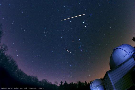 Photo of Geminid meteors by John Chumack