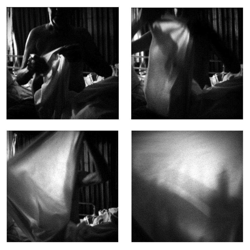 Folding the Sheet, 2013Sitti ng up on the hospital bed in the living room. My father folds the sheet amidst a restless night.