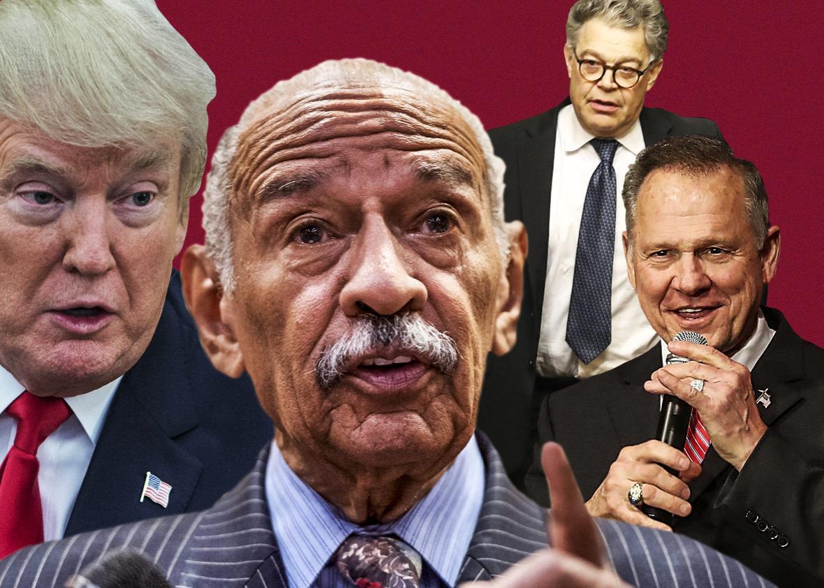 U.S. President Donald Trump, John Conyers, Republican Senatorial candidate Roy Moore and U.S. Sen. Al Franken.