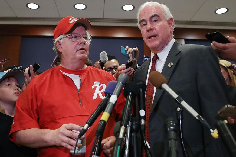 WASHINGTON, DC - JUNE 14:  Rep. Joe Barton (R-TX) (L) and Rep. Patrick Meehan (R-PA), speak to the media about todays shooting at the Congressional baseball practice, on June 14, 2017 in Washington, DC. This morning House Majority Whip Steve Scalise (R-LA) and others were shot by a gunman during Congressional baseball practice in Alexandria, Virginia.  (Photo by Mark Wilson/Getty Images)
