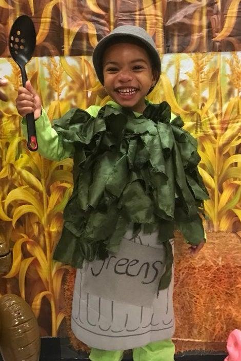 Jamilah's daughter Niema dressed up for Halloween as greens.
