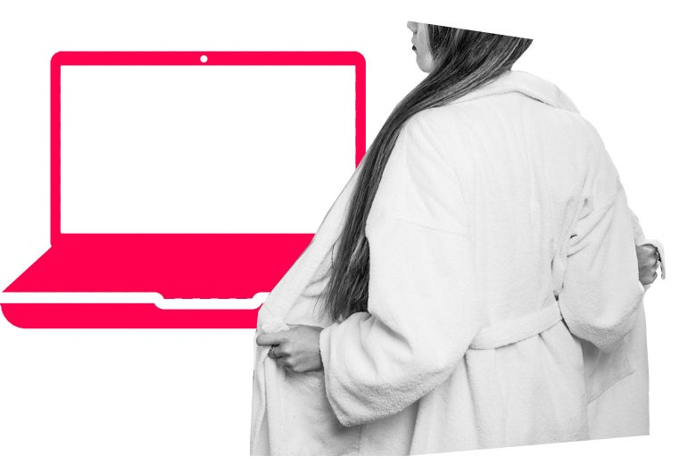 Woman taking off a robe in front of an illustration of a computer screen
