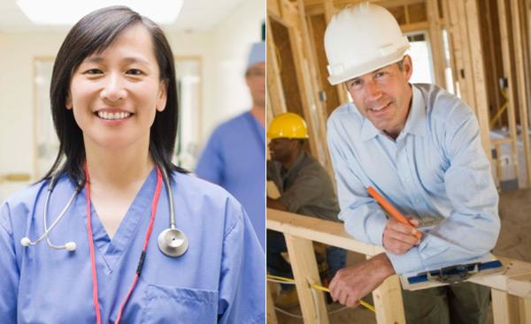 Nurse and construction worker.