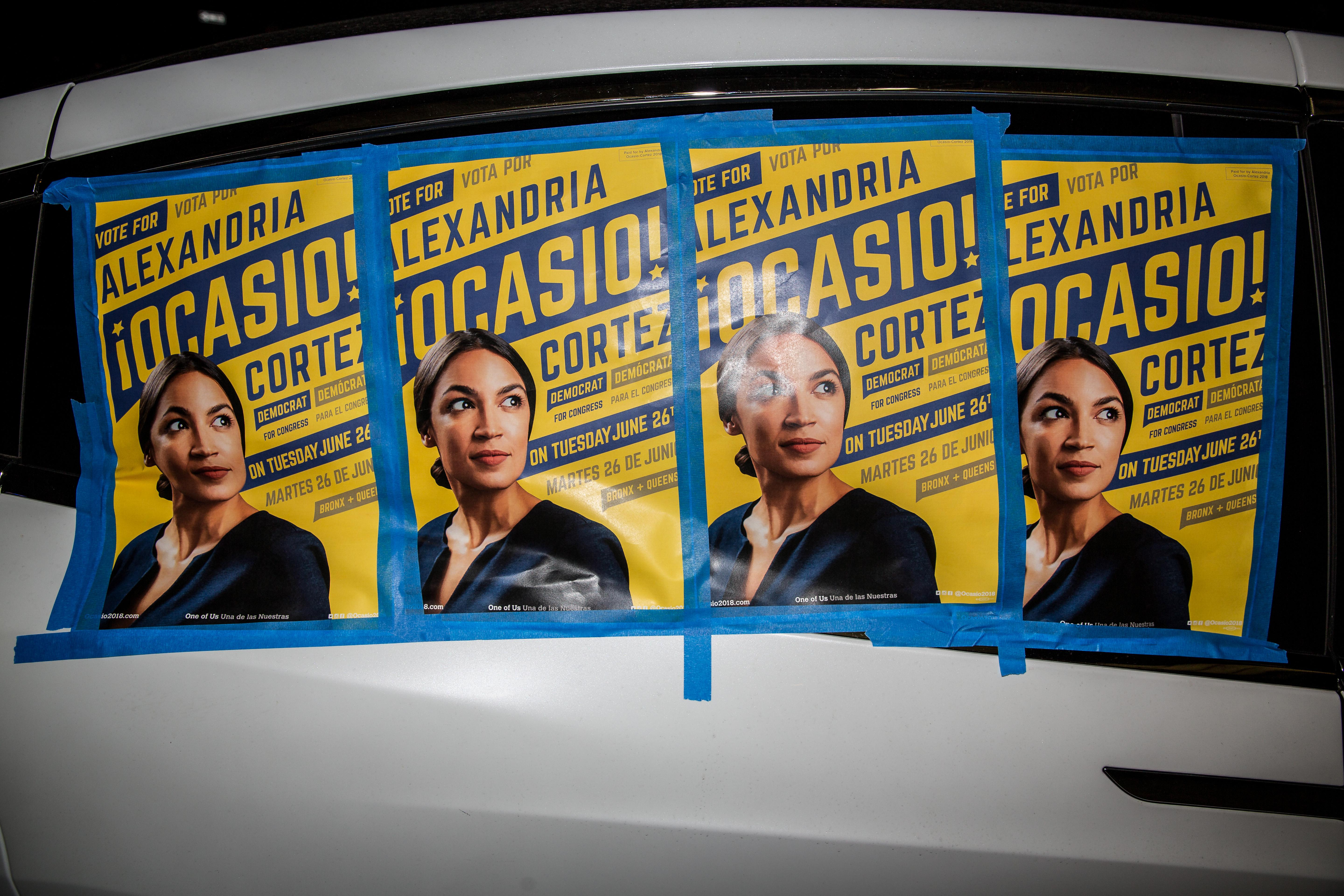 Posters for Democratic candidate Alexandria Ocasio-Cortez in the Bronx.