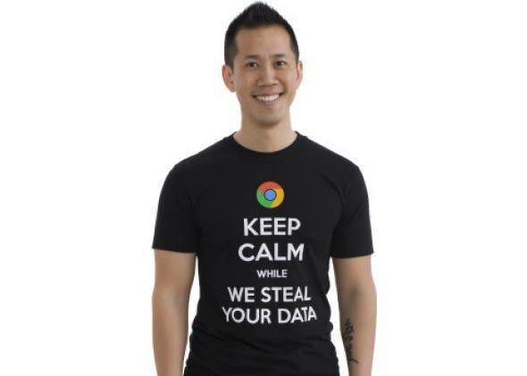 Keep calm while we steal your data t-shirt