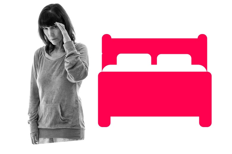 A woman shielding her eyes from a graphic illustration of a bed.