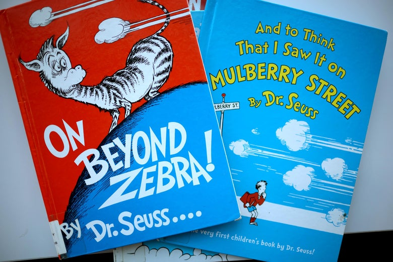 The covers of the two books, both of which bear Seuss' classic, colorful style