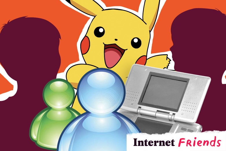 A collage of Pikachu, Nintendo, the MSN Messenger logo, and two kids interacting.