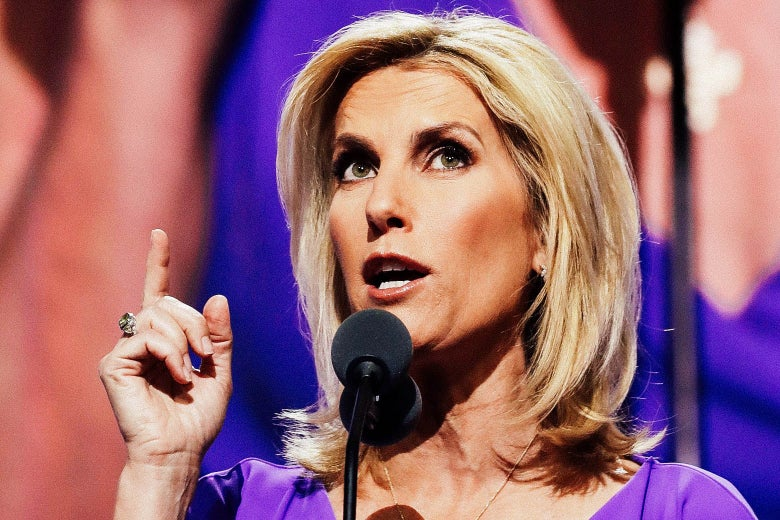 Ingraham pointing as she speaks into a mic onstage.