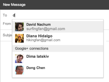Gmail suggests Google+ contacts