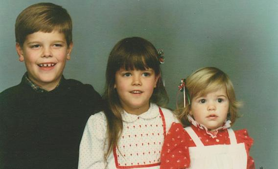 The author, aged 7, and the two sisters he knew about
