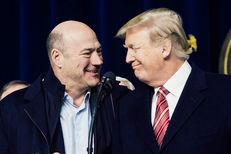 Gary Cohn and Donald Trump affirm their support for each other at Camp David on Jan. 6, 2018 in Thurmont, Maryland.