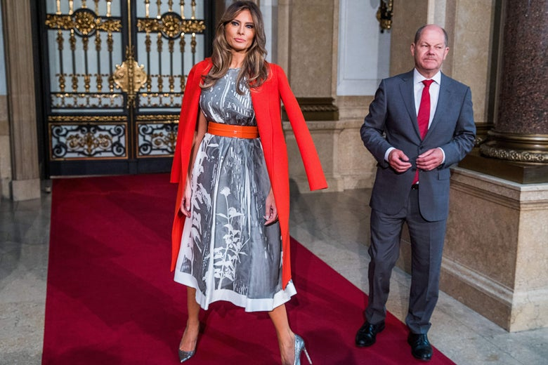Hamburg's mayor Olaf Scholz greets US First Lady Melania Trump as she arrives to attend the partners' programme at the city hall during the G20 summit in Hamburg, northern Germany, on July 8, 2017.         Leaders of the world's top economies gather from July 7 to 8, 2017 in Germany for likely the stormiest G20 summit in years, with disagreements ranging from wars to climate change and global trade. / AFP PHOTO / POOL / Jens Büttner        (Photo credit should read JENS BUTTNER/AFP/Getty Images)