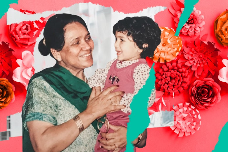 Family photo of Meera and her grandmother.