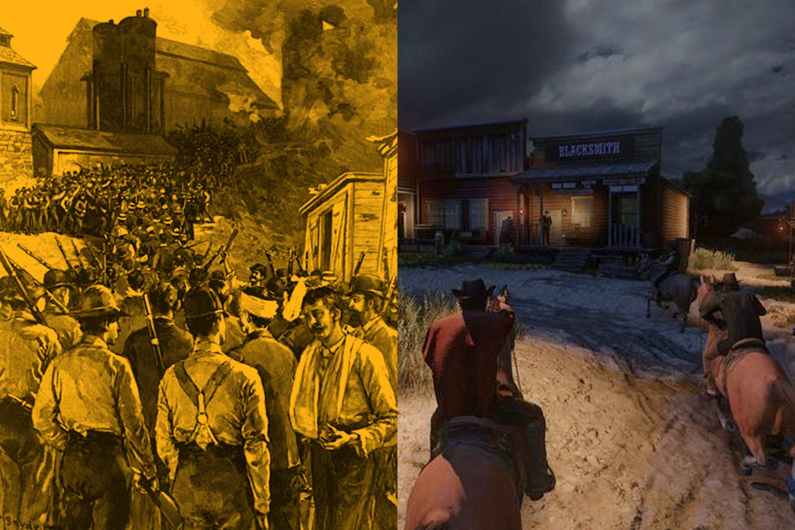 Diptych of real Pinkerton agents and the ones in Red Dead Redemption