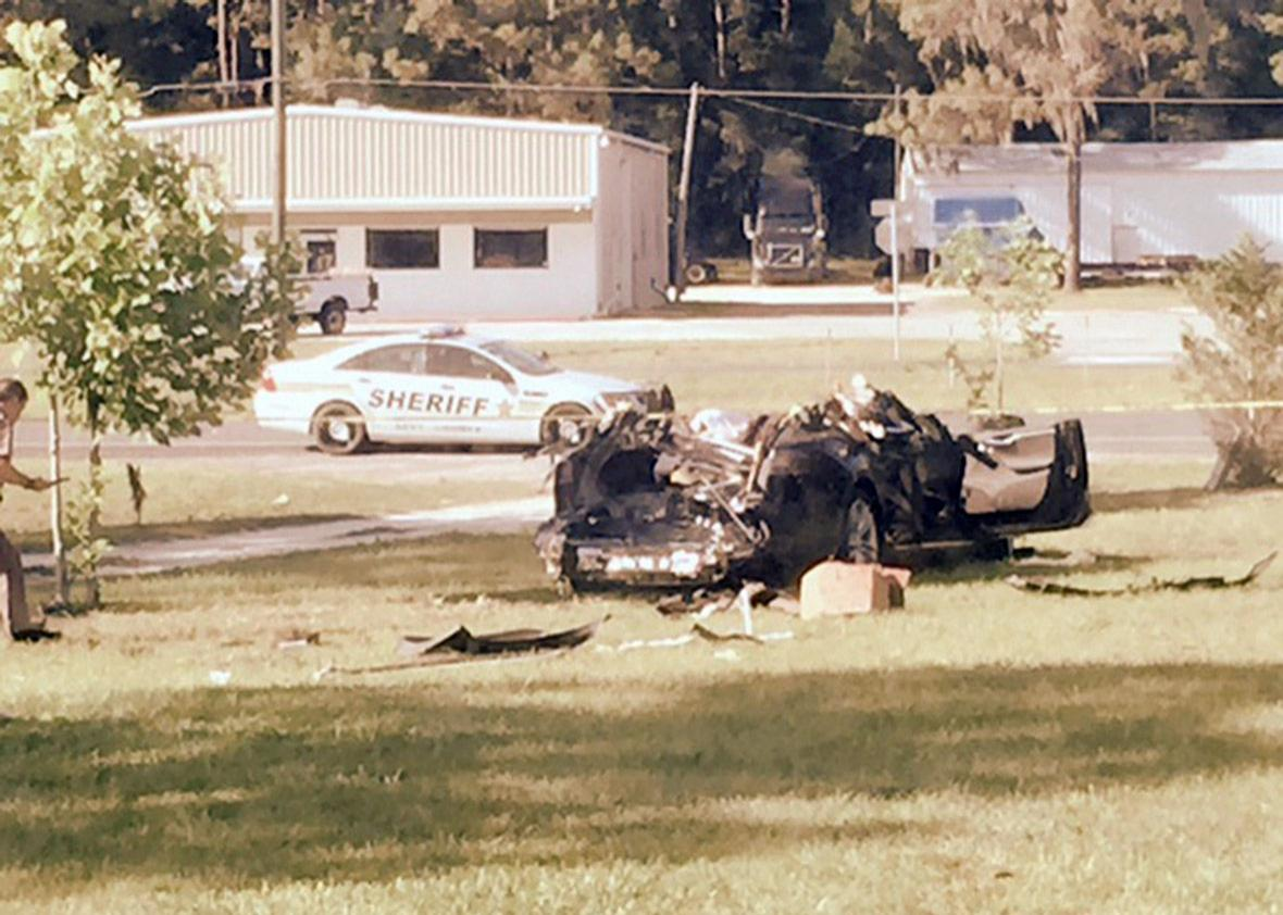 A Tesla Model S involved in the fatal crash on May 7, 2016
