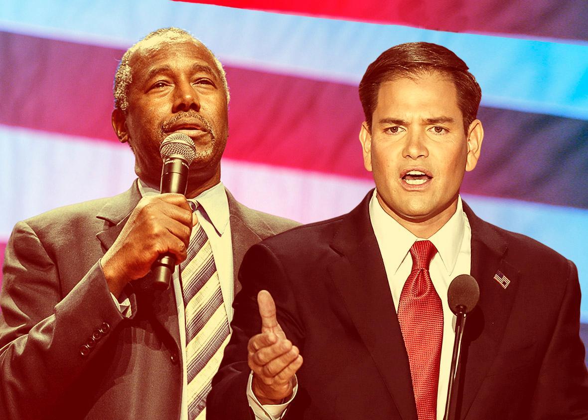 Republican presidential candidates Ben Carson and Sen. Marco Rub,Republican presidential candidates Ben Carson and Sen. Marco Rubio.