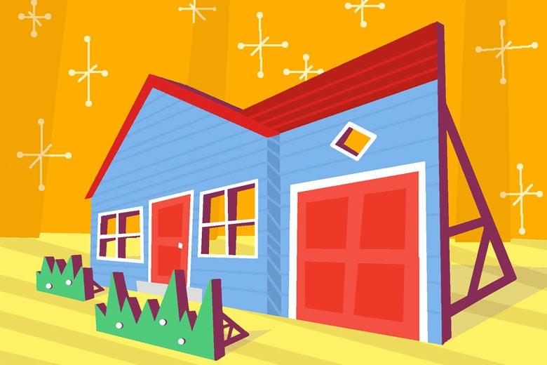 Cartoon drawing of a house's facade.