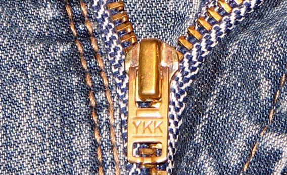 YKK zipper on blue jeans