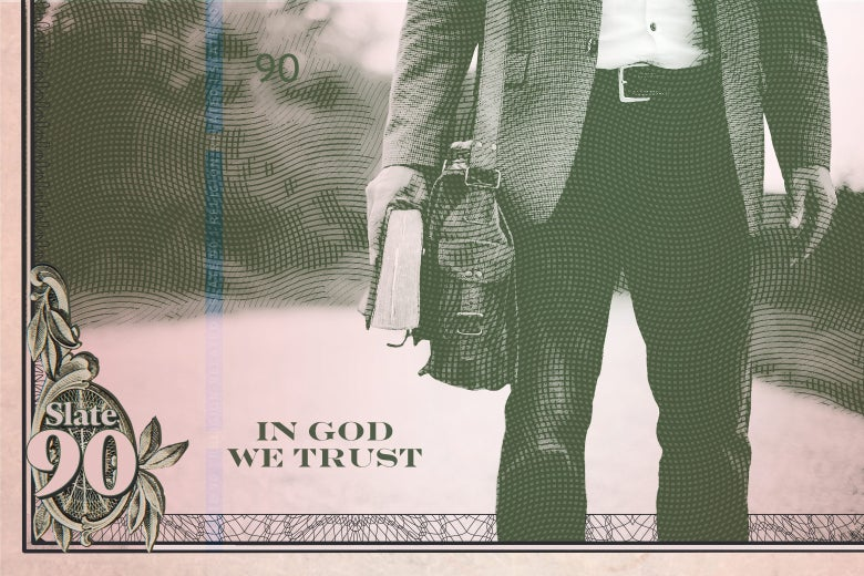 Paper currency showing a man walking with a bible.