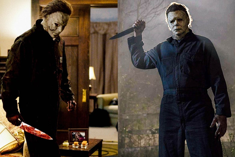 Side-by-side stills of the 2007 and 2018 Halloween films: In each, a masked Michael Myers brandishes a long knife.