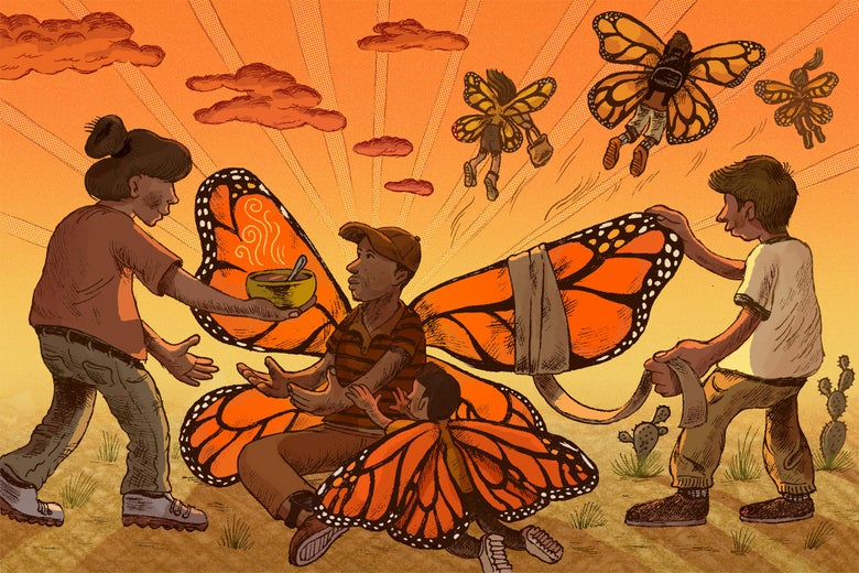 Illustration: A woman offers soup to a man and child with butterfly wings, while another man bandages one of the injured wings.
