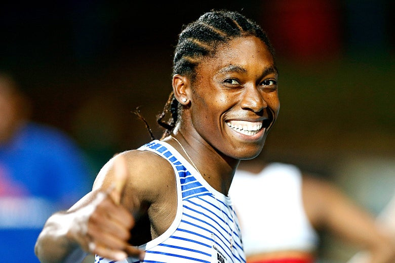 Caster Semenya smiles and gestures.