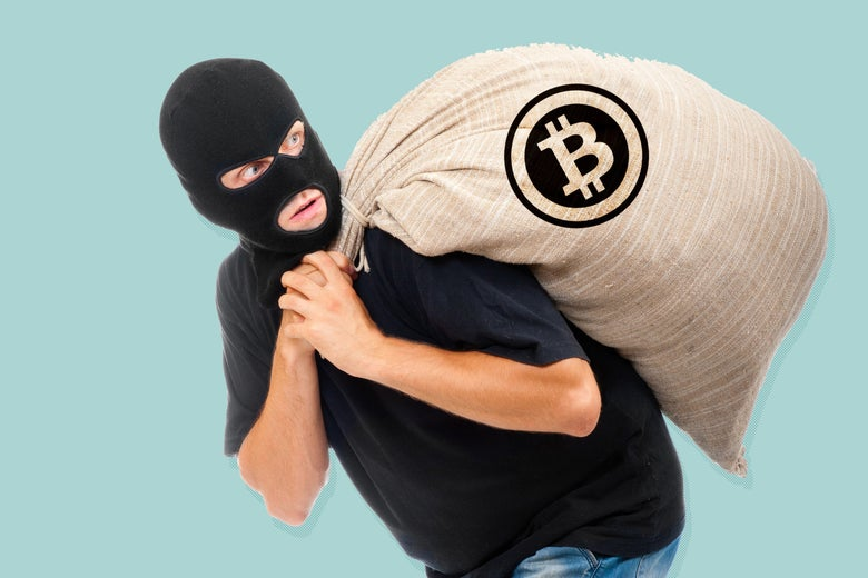 A man in a balaclava carries a burlap sack with a Bitcoin logo.