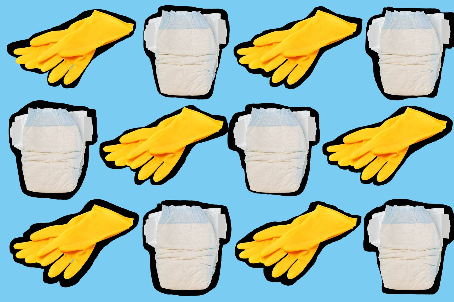 Alternating yellow rubber gloves and diapers.