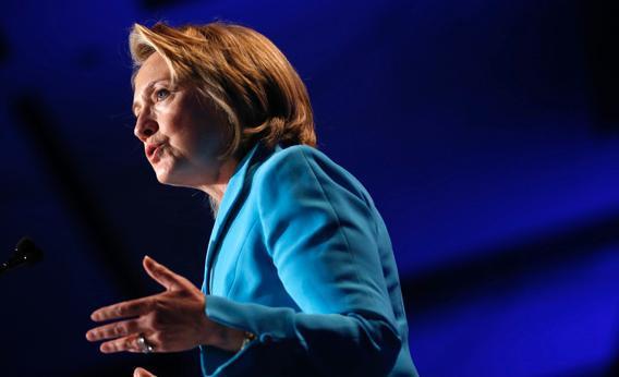 Former U.S. Secretary of State Hillary Clinton speaks at the Clinton Global Initiative America.