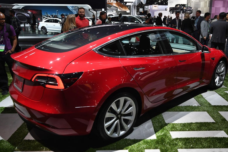 Exterior of the new Tesla Model 3, at the 2017 LA Auto Show