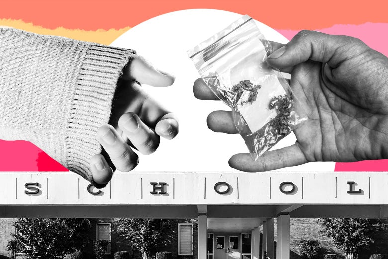 Photo collage of two hands exchanging drugs in front of a school.
