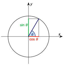 The relationship between an angle, its sine, cosine and a circle.