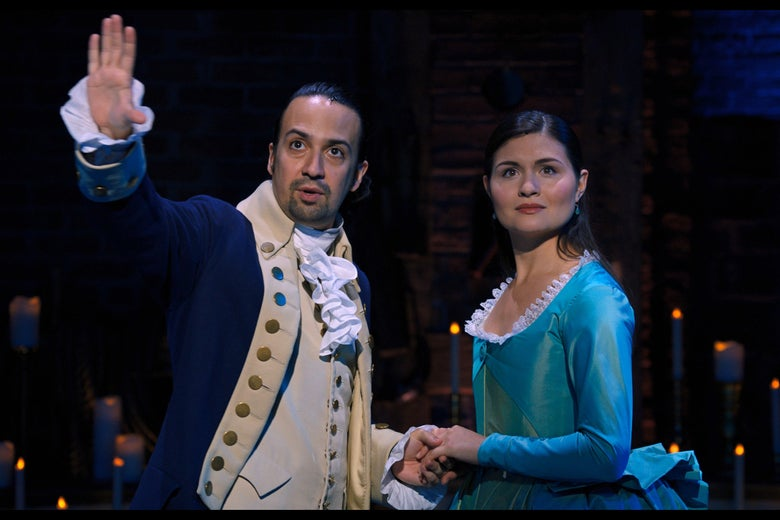 Lin-Manuel Miranda and Philippa Soo as Alexander and Eliza Hamilton.
