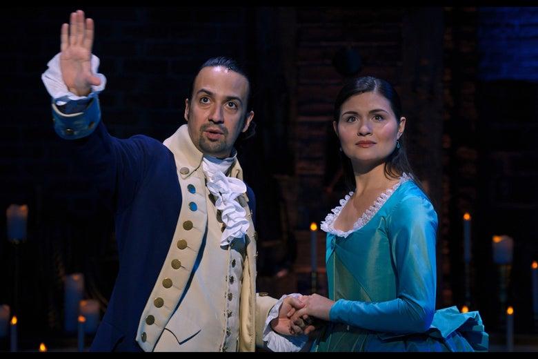 Lin-Manuel Miranda and Philippa Soo as Alexander and Eliza Hamilton.