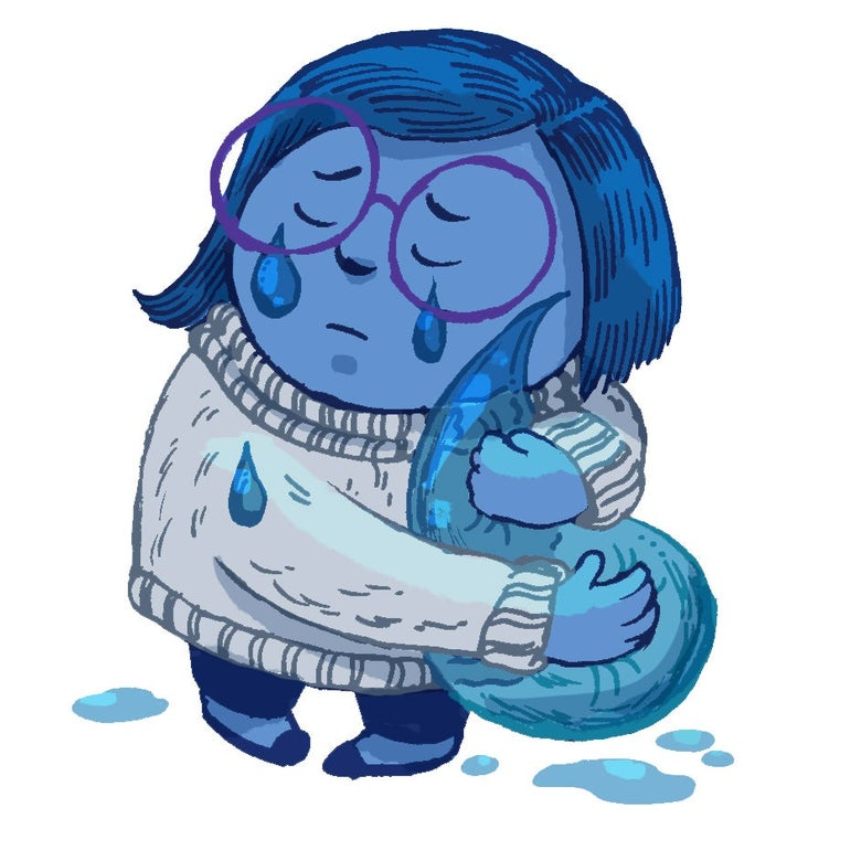 Illustration of Sadness crying and hugging a teardrop.