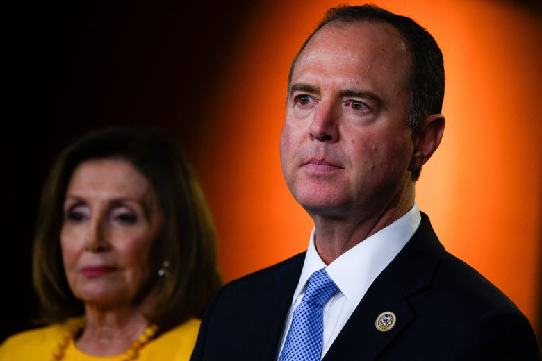 House Speaker Nancy Pelosi and House Intelligence Committee Chairman Adam Schiff deliver a press conference following the former Special Counsel's testimony before the House Select Committee on Intelligence in Washington, D.C. on July 24, 2019.
