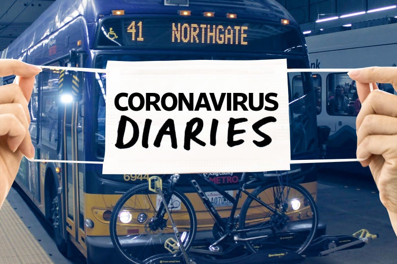 "Two hands holding a surgical mask that says ""Coronavirus Diaries"" over a Seattle bus."